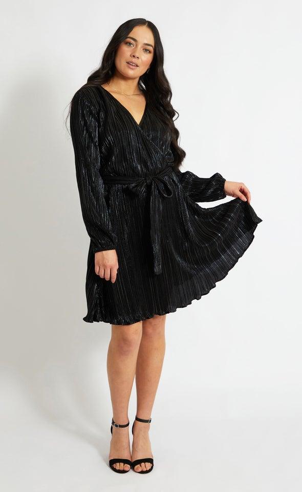 Plisse LS Wrap Dress Black