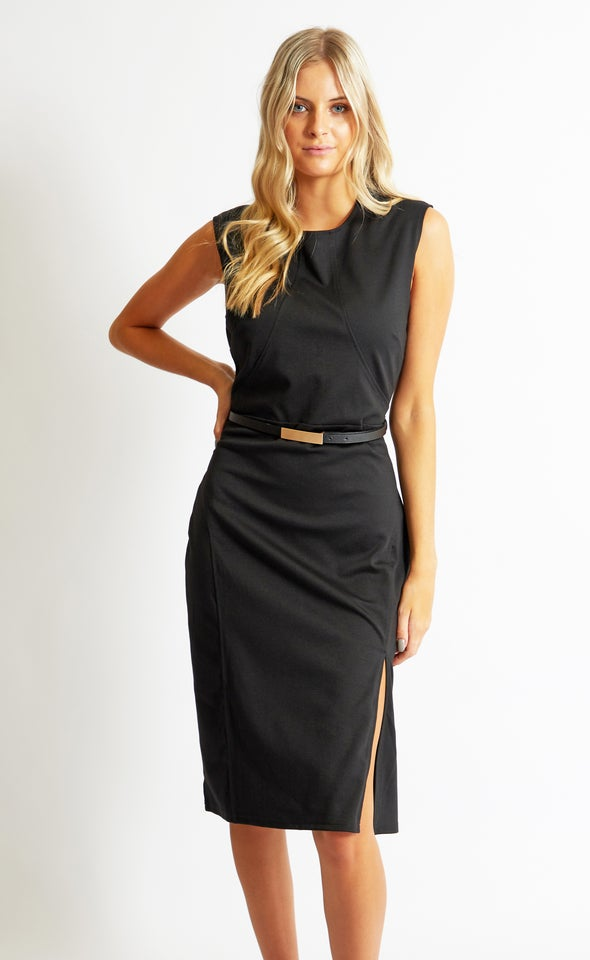 Ponte Cap Sleeve Dress Black