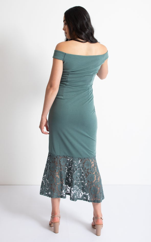 Ponte Off The Shoulder Lace Hem Dress Sage