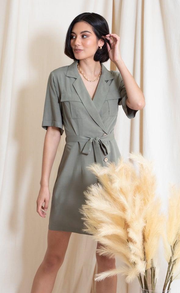 Poplin SS Utility Shirt Dress