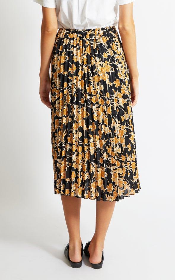 Printed CDC Pleat Skirt Black/mustard