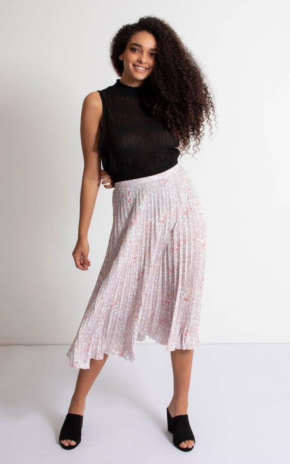 Printed CDC Pleat Skirt Blush Print