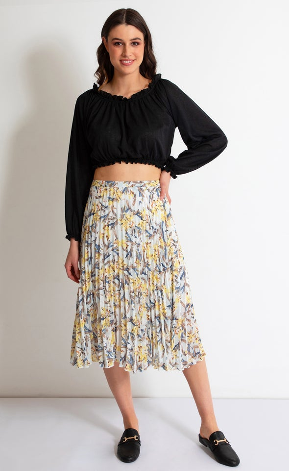 Printed Chiffon Pleat Skirt Blue/yellow Print