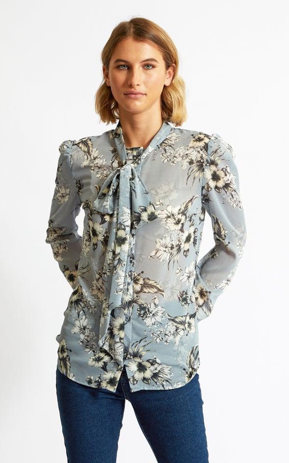 Printed Chiffon Tie Neck Shirt Blue/grey Print