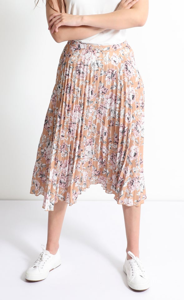 Printed Floral Pleat Skirt