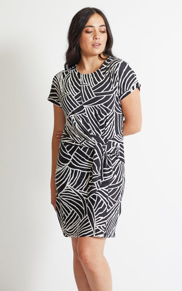 Printed Jersey Tie Front Dress Black/white