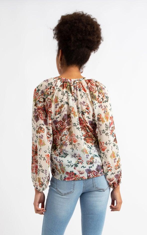 Printed Loop Button Shirt Cream Floral