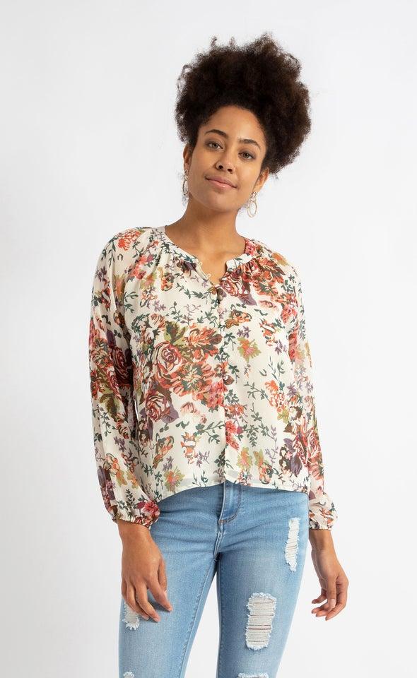 Printed Loop Button Shirt