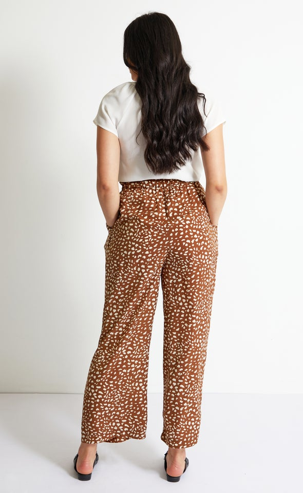 Printed Pleat Front Pants Taupe Print
