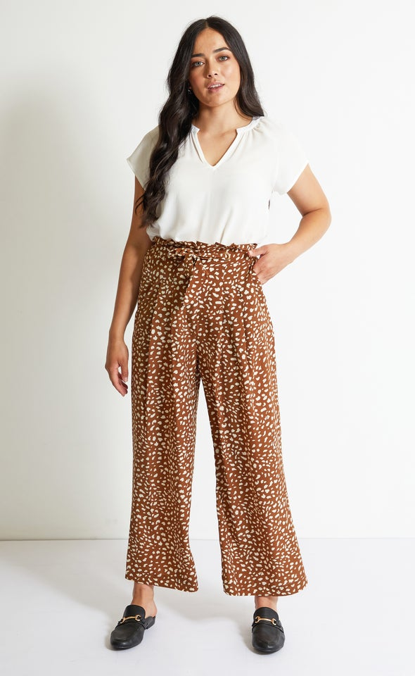 Printed Pleat Front Pants
