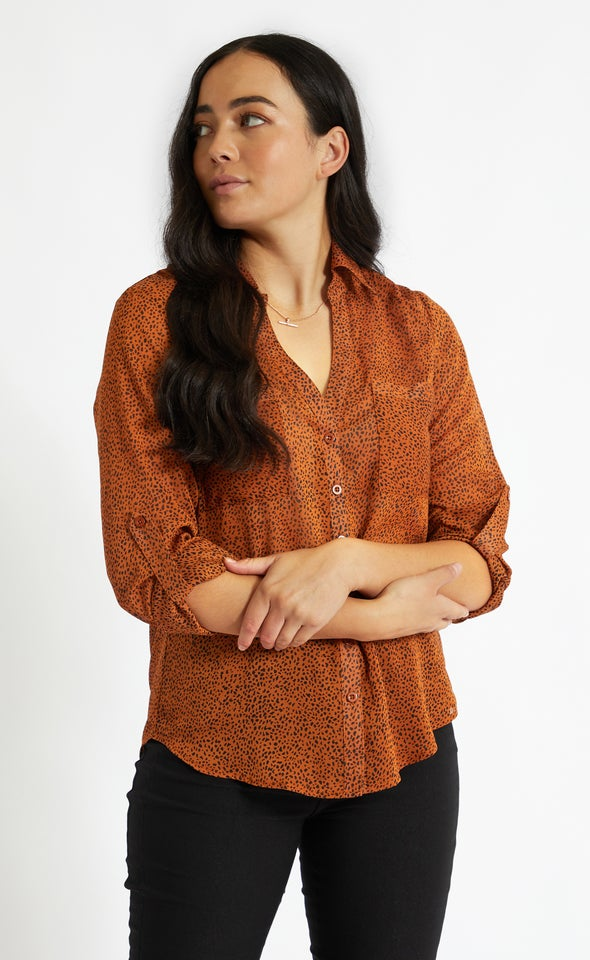Printed Pleat Pocket Shirt Terracotta Print