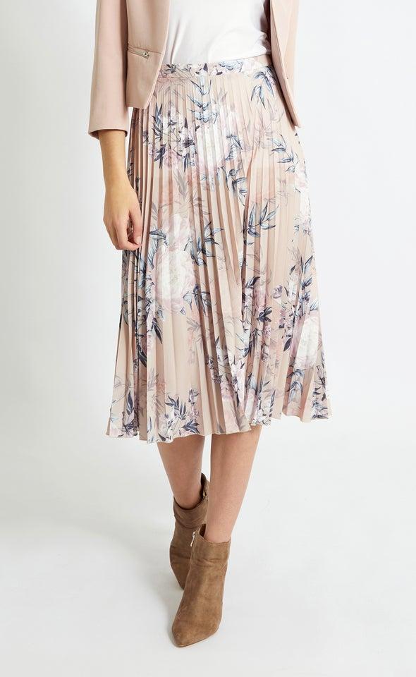 Printed Pleat Skirt Blush/navy