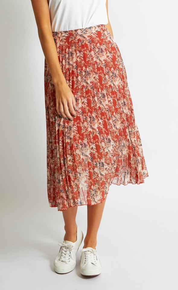 Printed Pleat Skirt
