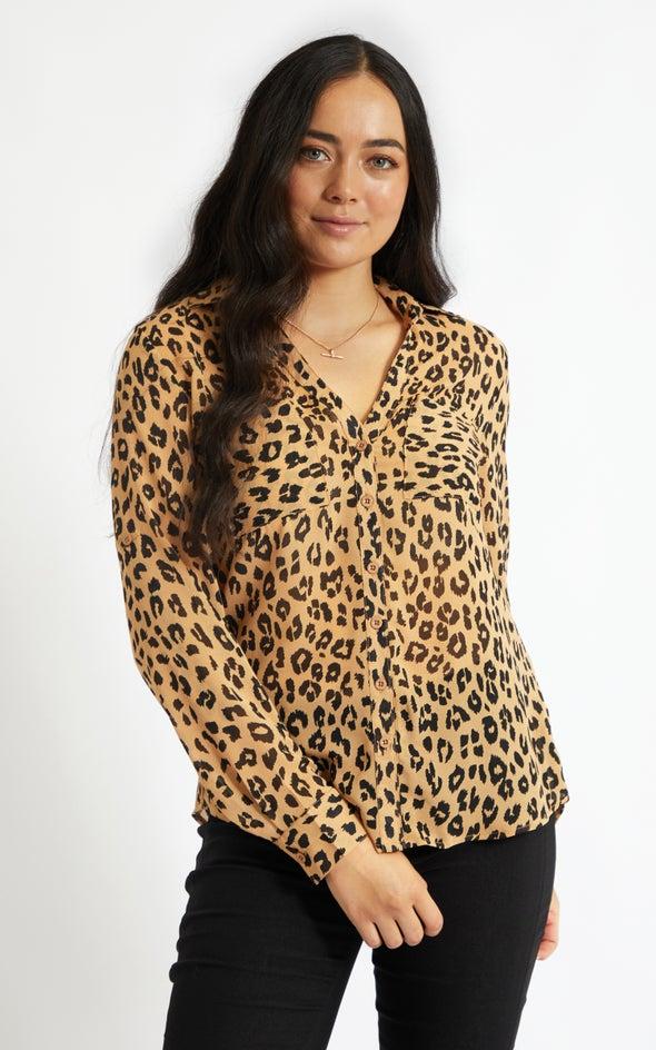 Printed Roll Sleeve Shirt Tan Print