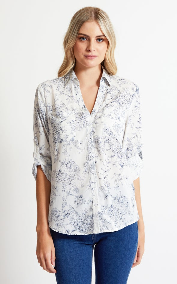 Printed Roll Sleeve Shirt White/blue