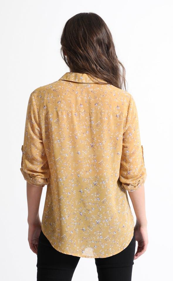 Printed Roll Sleeve Shirt Yellow Print
