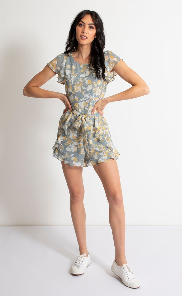 Printed Ruffle Playsuit