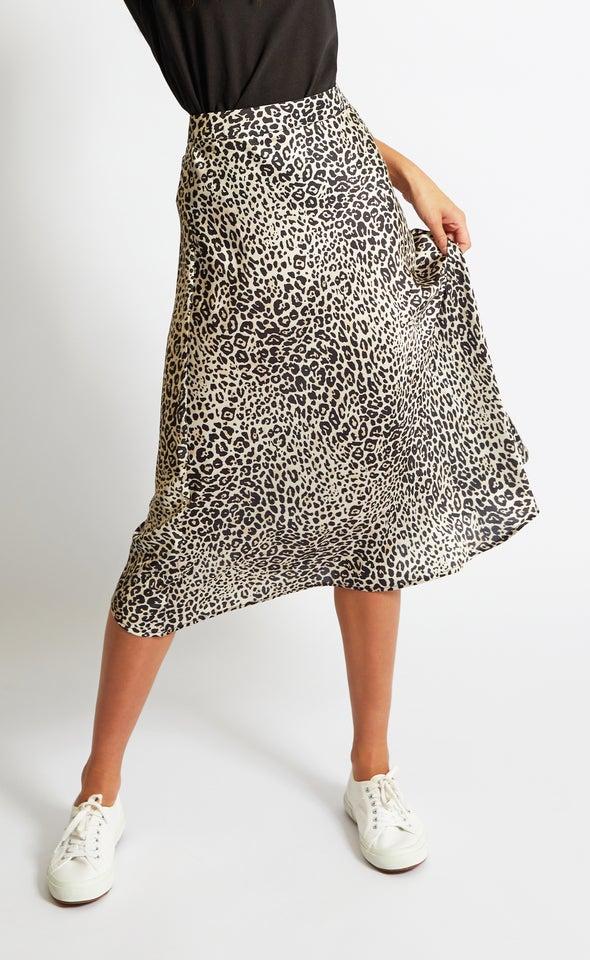 Printed Satin Midi Skirt Beige Print