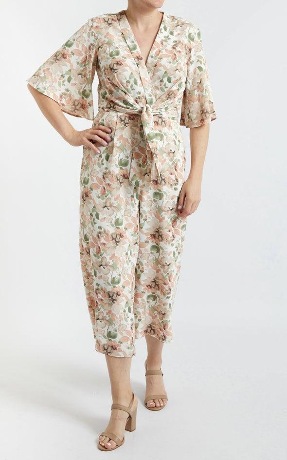 Printed Tie Front Jumpsuit Blush Print