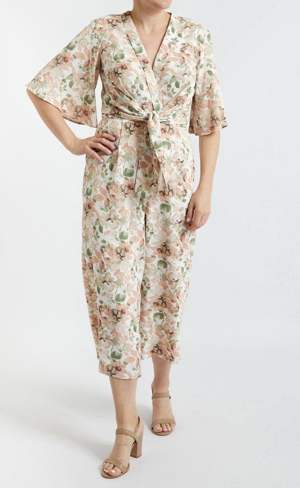 Printed Tie Front Jumpsuit
