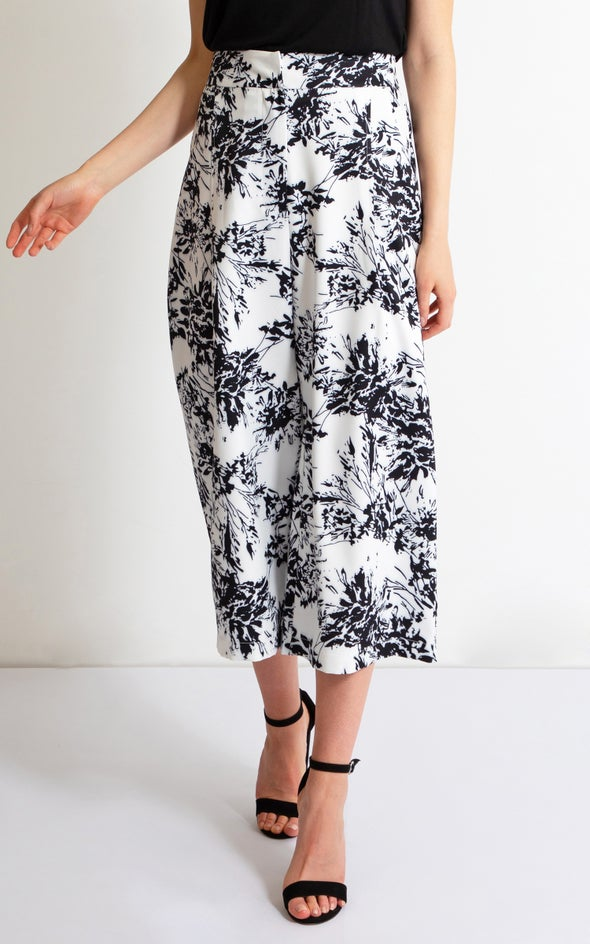 Printed Wide Leg Culottes White/blk