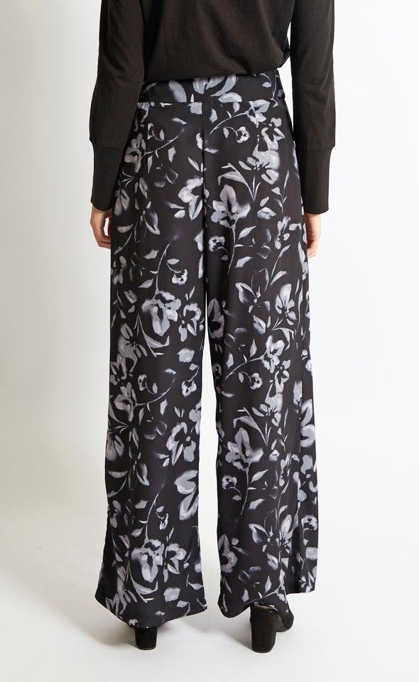 Printed Wide Leg Pants Blk/white