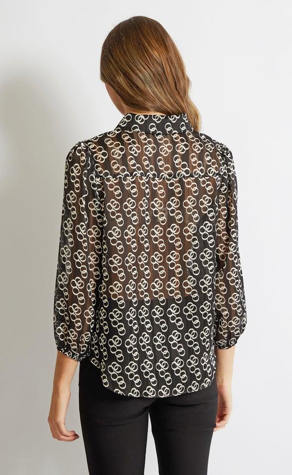 Puff Sleeve Printed Shirt Black/white Print