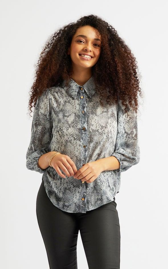 Puff Sleeve Shirt Blk/grey