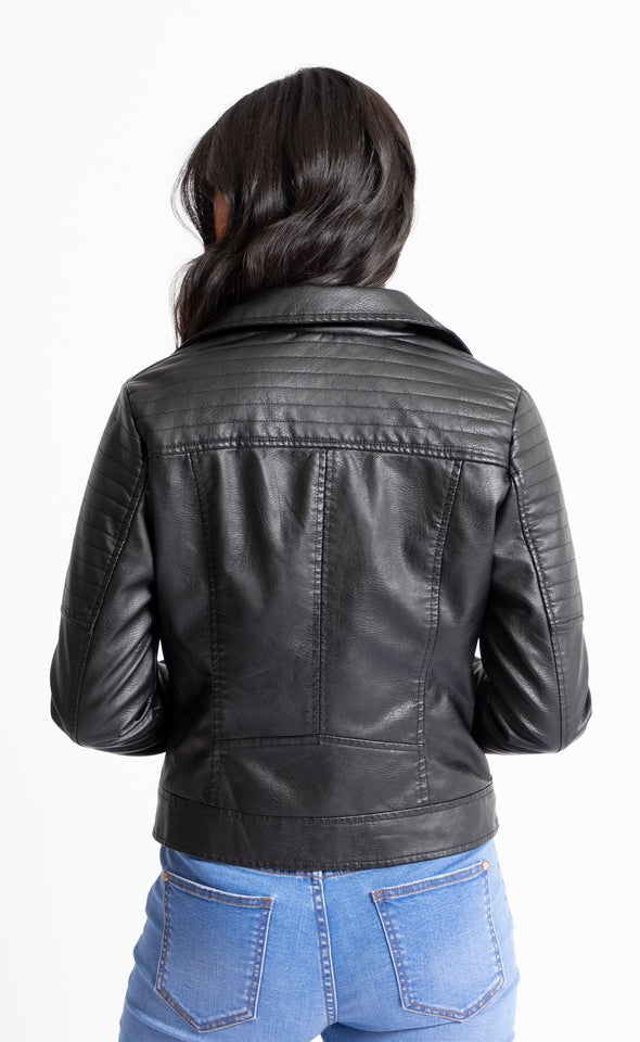 Quilted Biker Jacket Black