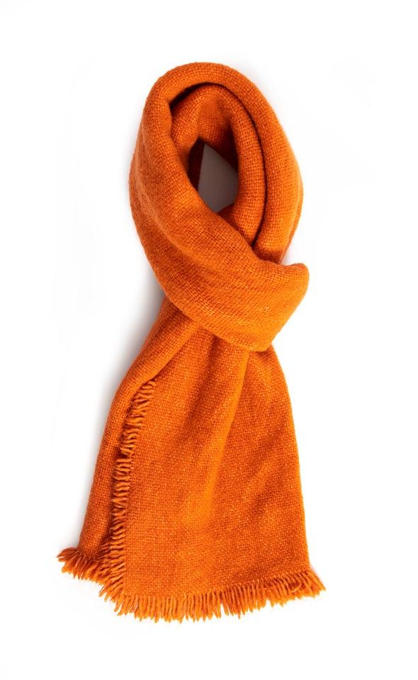 Raw Edge Hem Scarf Orange