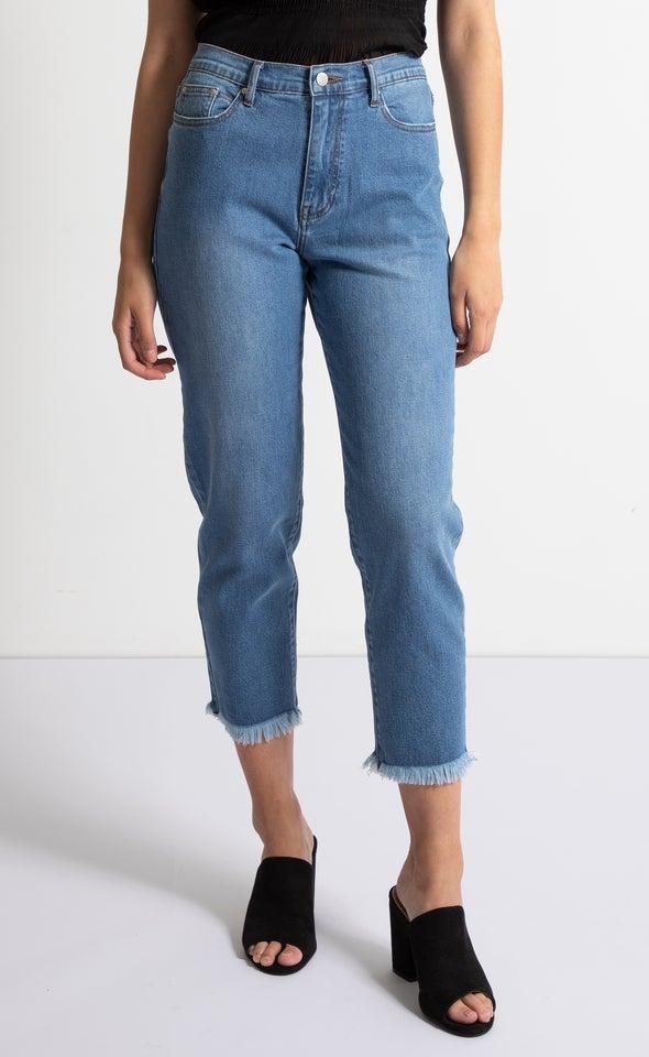Raw Hem Soft Wash Straight Jeans Blue