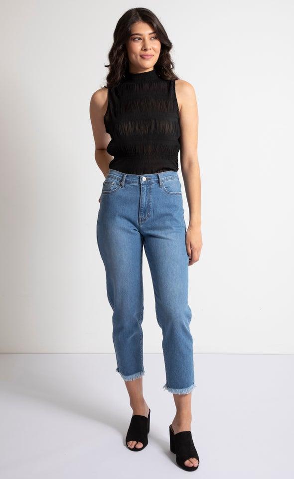 Raw Hem Soft Wash Straight Jeans