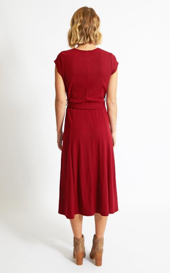 Rib Jersey Belted Midi Dress Maroon