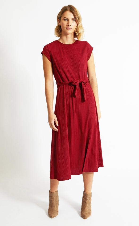 Rib Jersey Belted Midi Dress