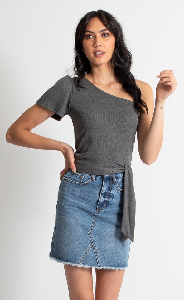 Rib Jersey One Shoulder Crop Top Charcoal