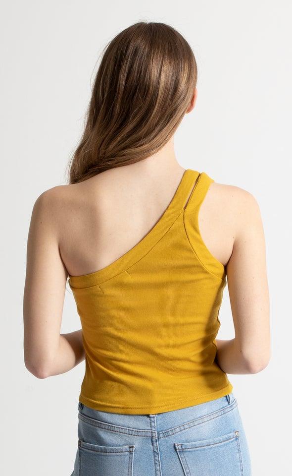Rib Jersey One Shoulder Top Mustard