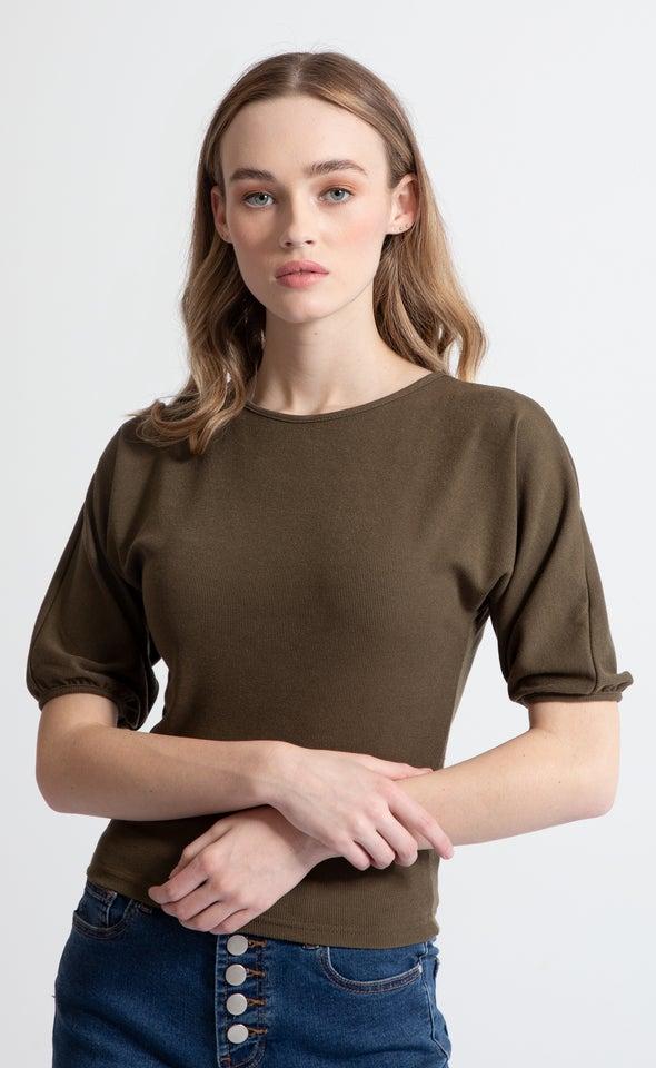 Rib Jersey Puff Sleeve Top Khaki