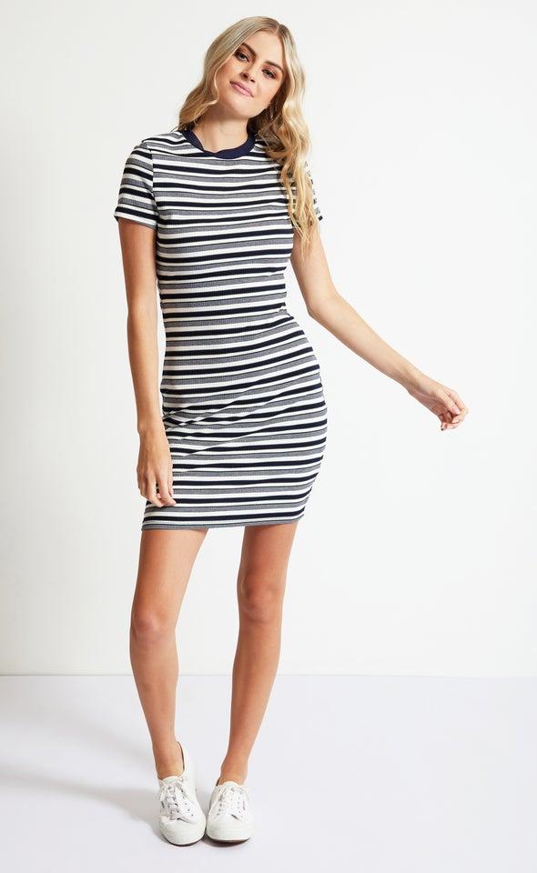 Rib Jersey Stripe T-Shirt Dress