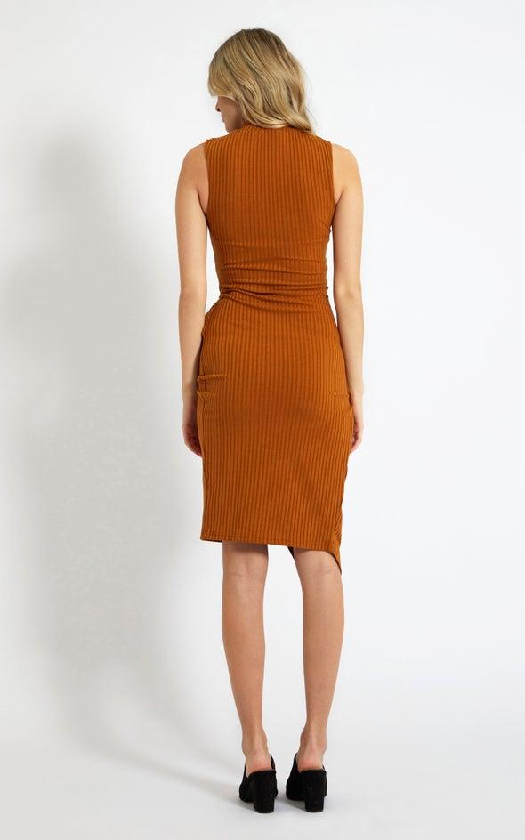 Rib Jersey Twist Detail Midi Dress Cheddar