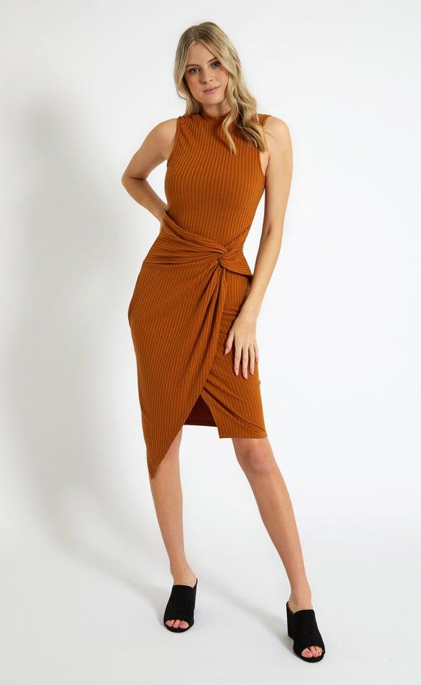 Rib Jersey Twist Detail Midi Dress