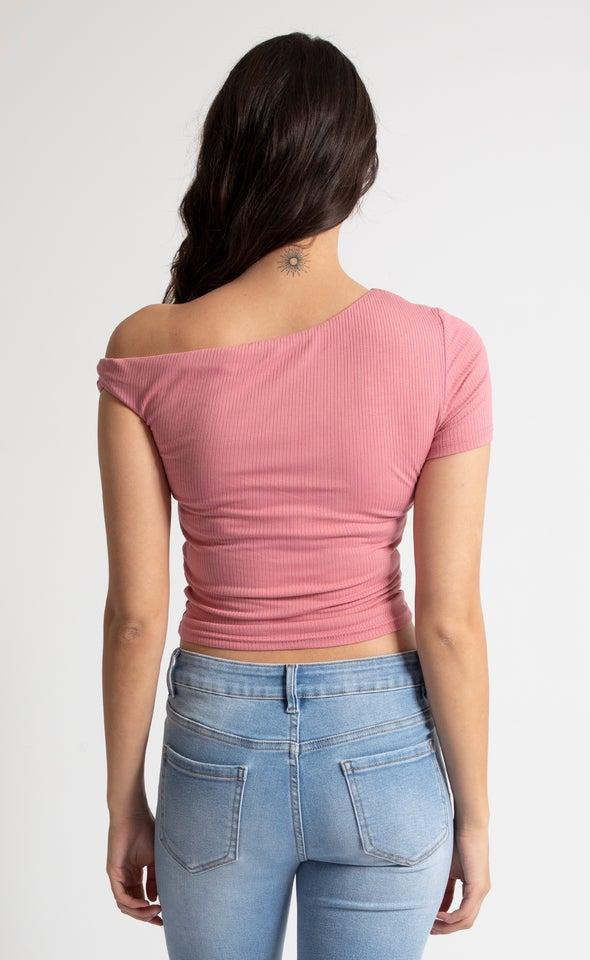 Rib Jersey Twist Sleeve Detail Tee Blush