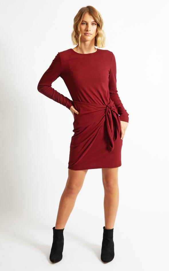 Rib Jersey Wrap Skirt Dress Maroon