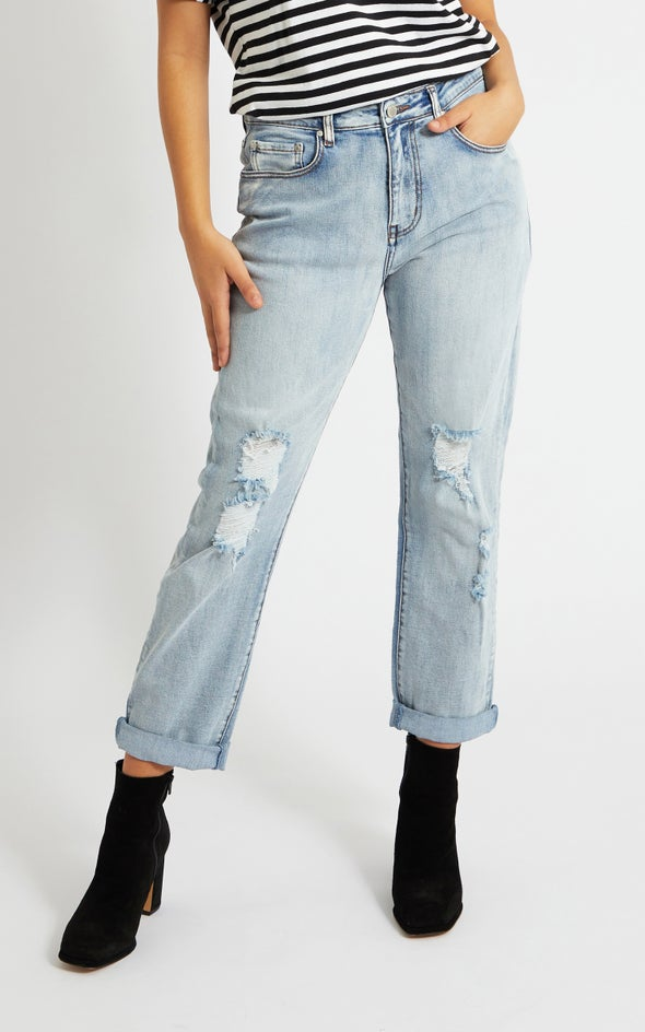 Ripped Detail Straight Jeans Light Blue