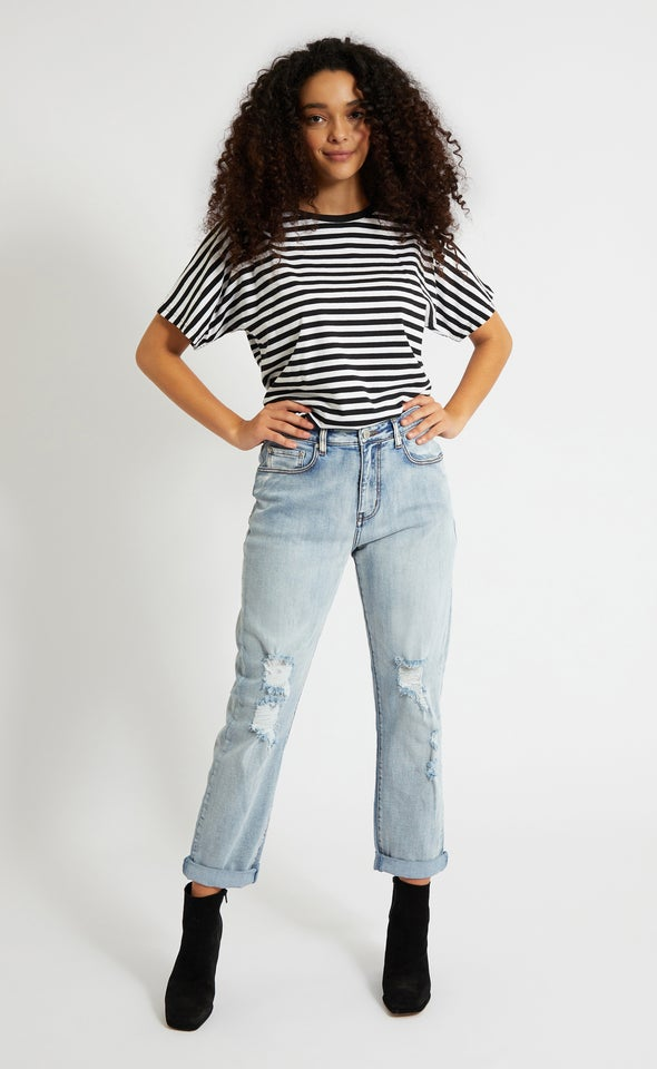 Ripped Detail Straight Jeans