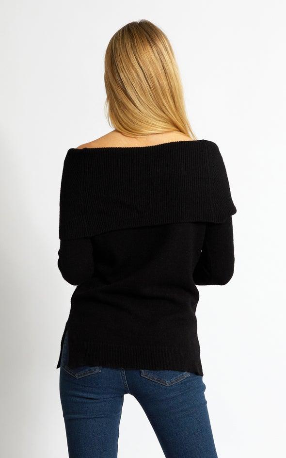 Roll Neck Cowl Sweater Black