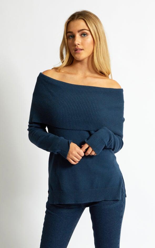 Roll Neck Cowl Sweater Denim