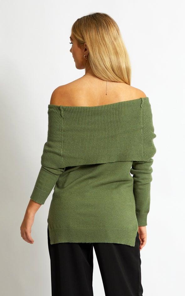 Roll Neck Cowl Sweater Khaki