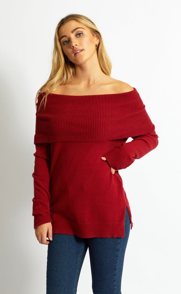 Roll Neck Cowl Sweater Maroon