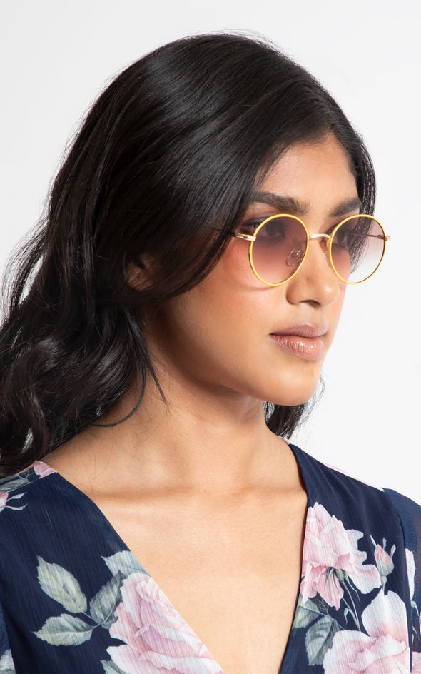 Round Metal Sunglasses Gold/brown