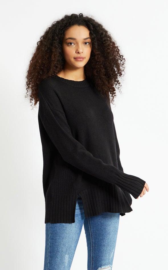Round Neck Longline Sweater Black
